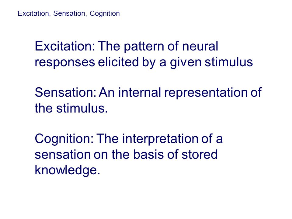 Sensation: An internal representation of the stimulus.