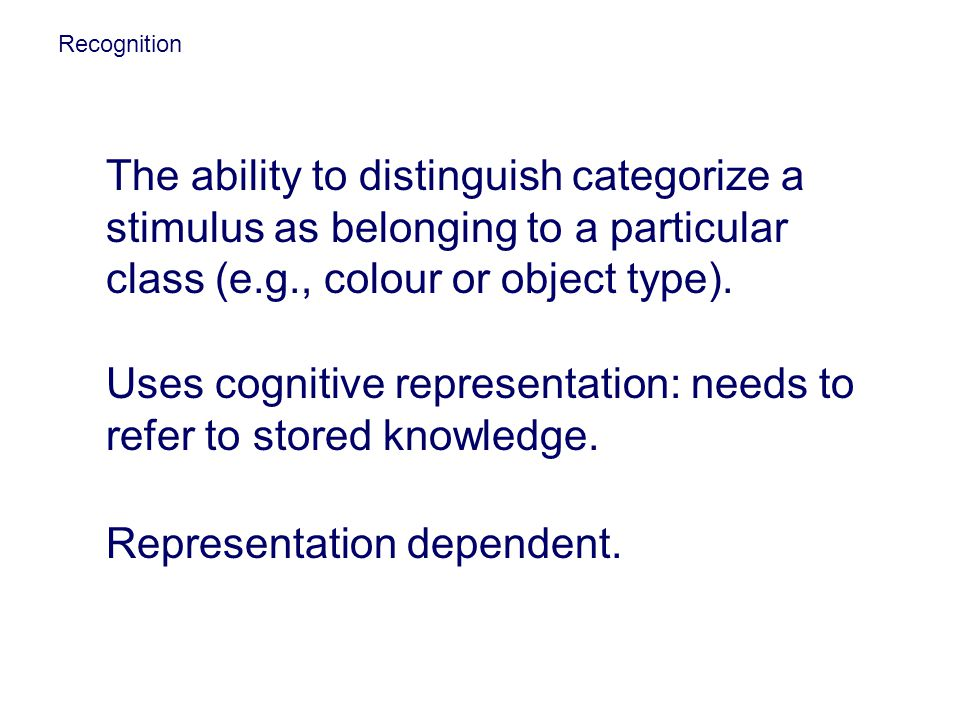 Uses cognitive representation: needs to refer to stored knowledge.