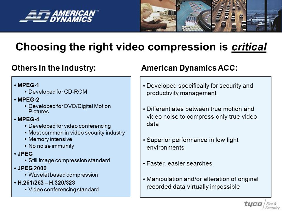 Choosing the right video compression is critical