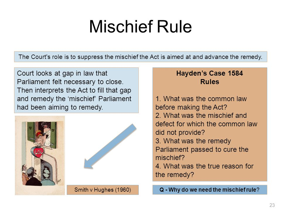 mischief rule Extracts from this document introduction when judges interpret statute, they have three rules to follow these are the literal rule, the golden rule and the mischief rule.