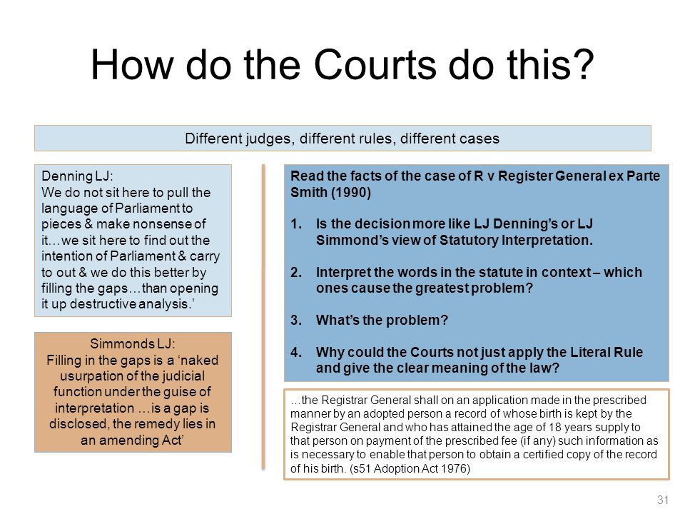 How do the Courts do this