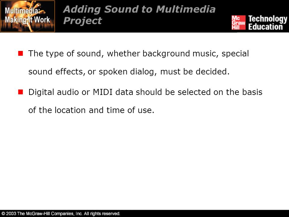 Adding Sound to Multimedia Project
