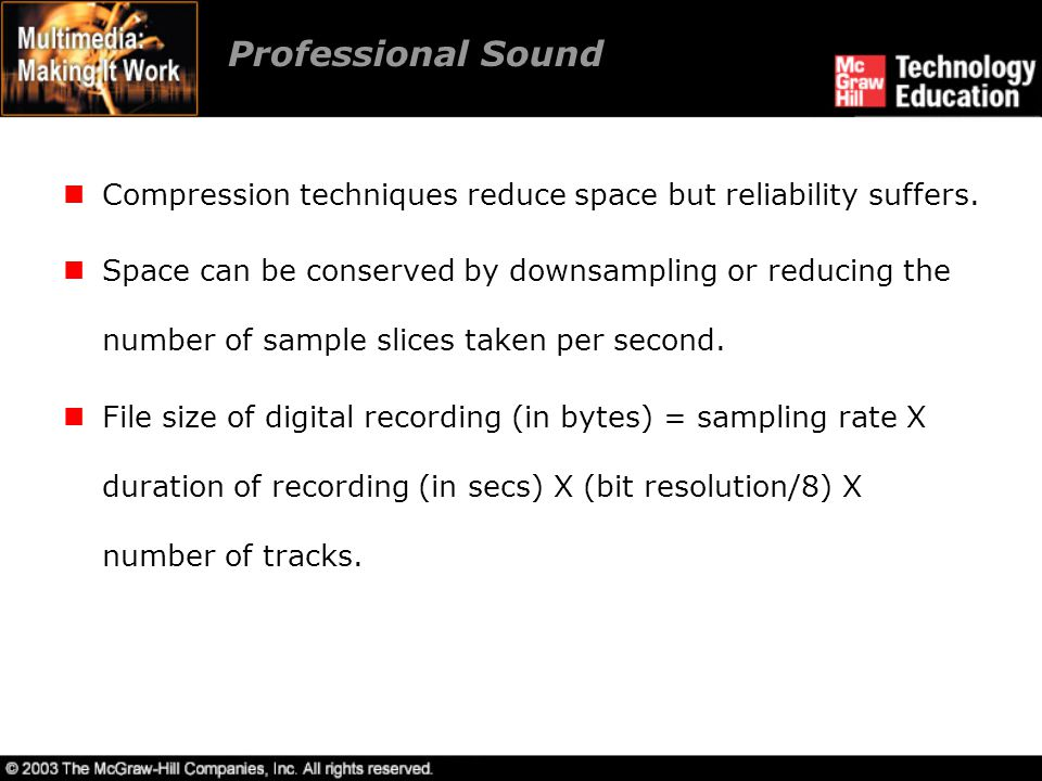 Professional Sound Compression techniques reduce space but reliability suffers.