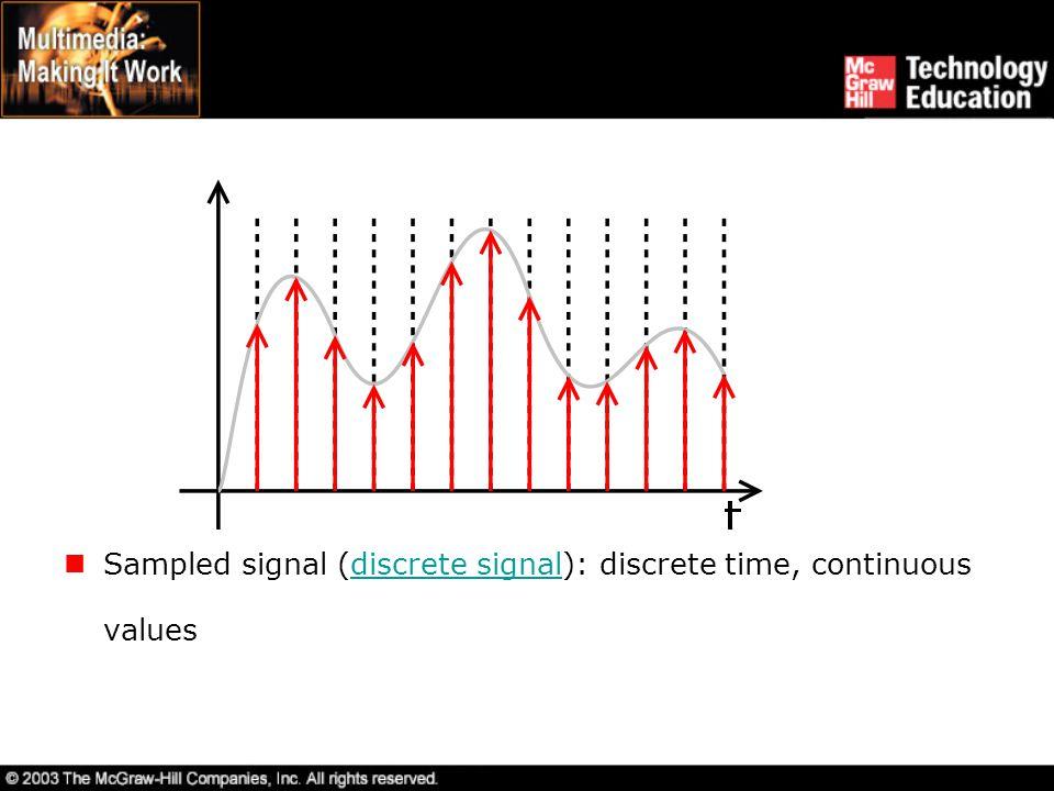 Sampled signal (discrete signal): discrete time, continuous values