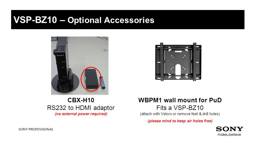 VSP-BZ10 – Optional Accessories