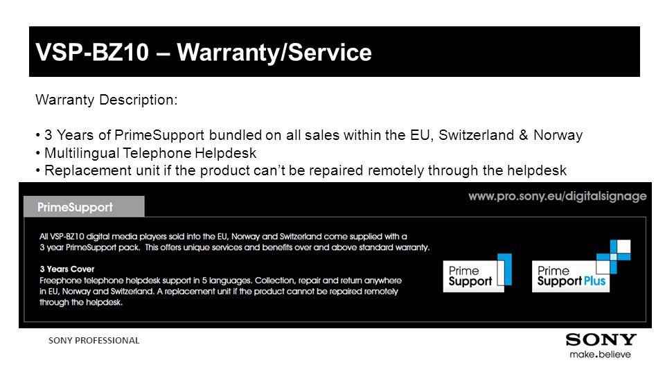 VSP-BZ10 – Warranty/Service
