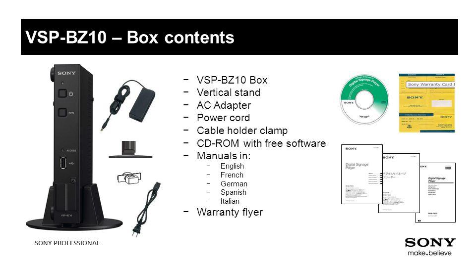 VSP-BZ10 – Box contents VSP-BZ10 Box Vertical stand AC Adapter