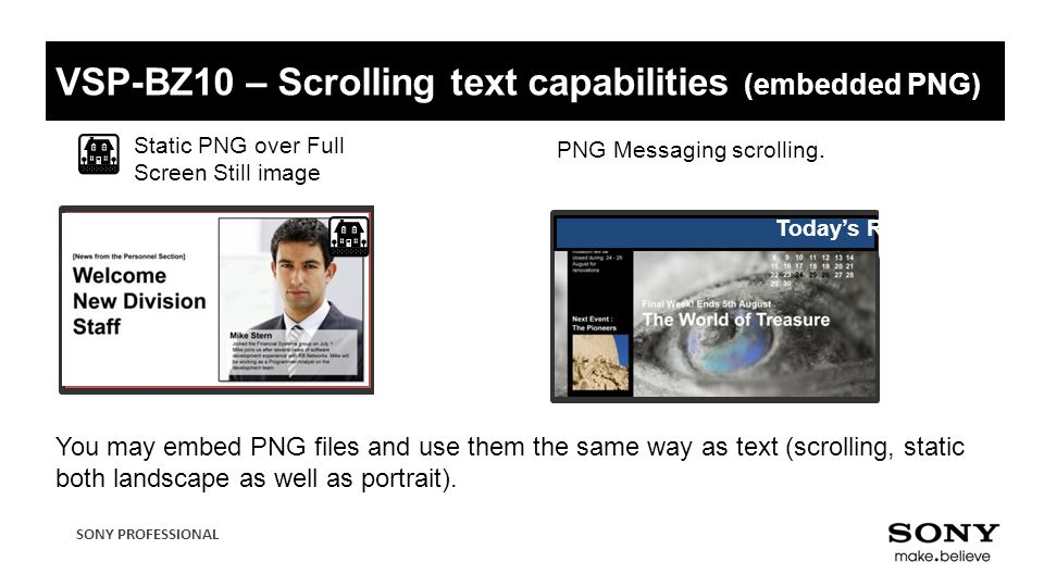 VSP-BZ10 – Scrolling text capabilities (embedded PNG)