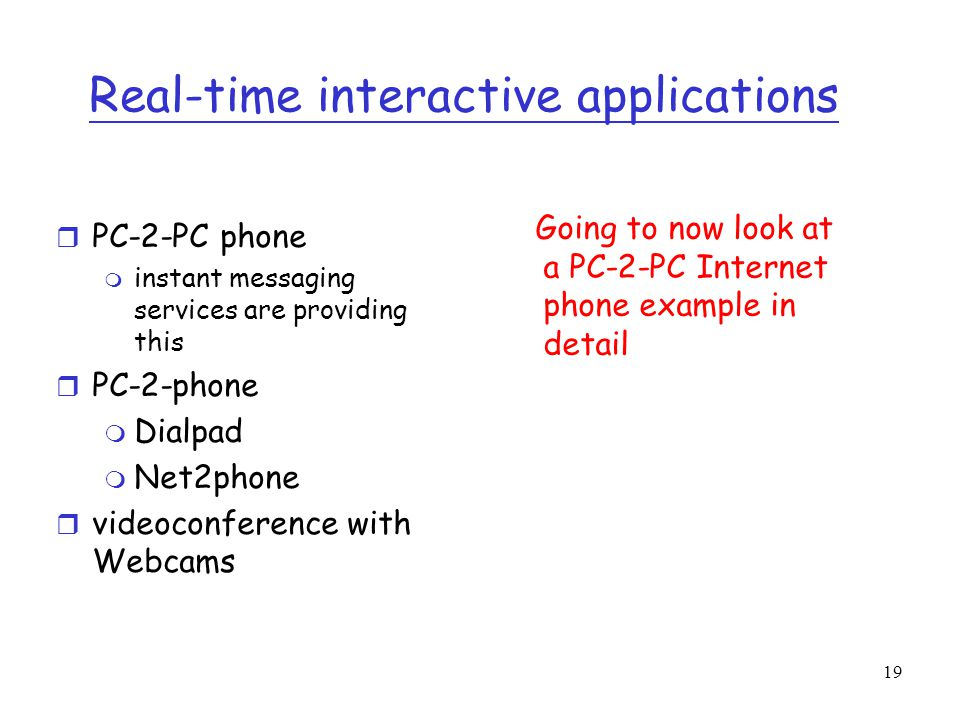 Real-time interactive applications