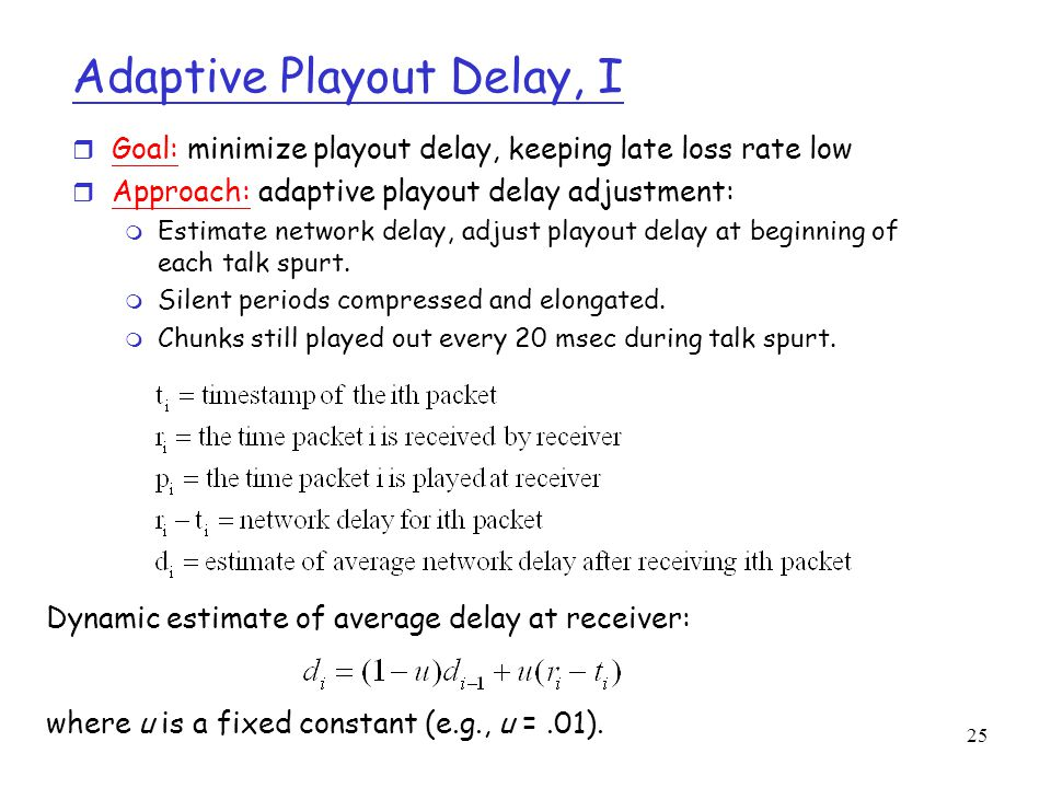 Adaptive Playout Delay, I