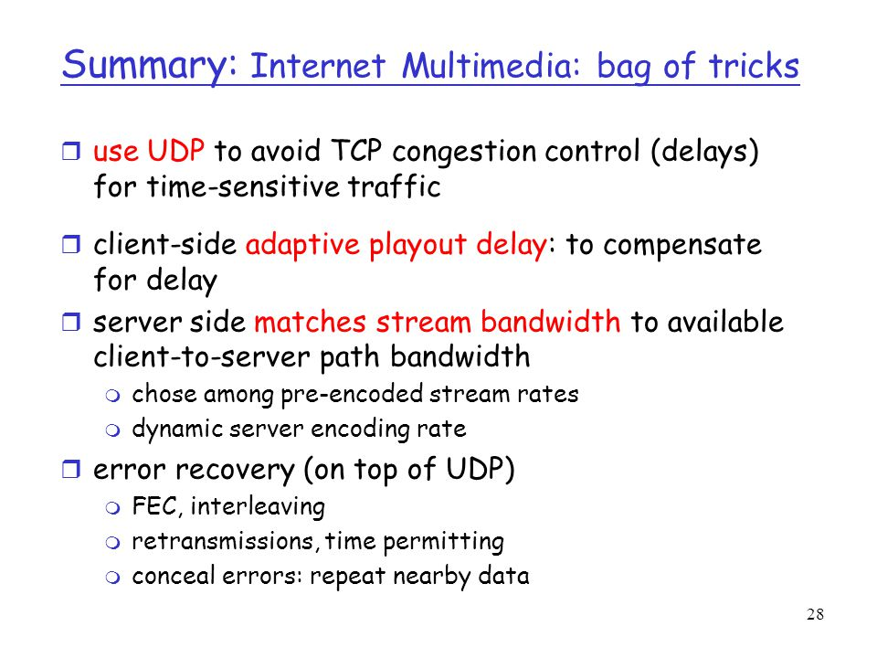 Summary: Internet Multimedia: bag of tricks