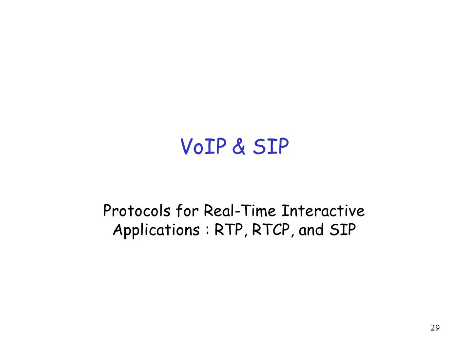 Protocols for Real-Time Interactive Applications : RTP, RTCP, and SIP