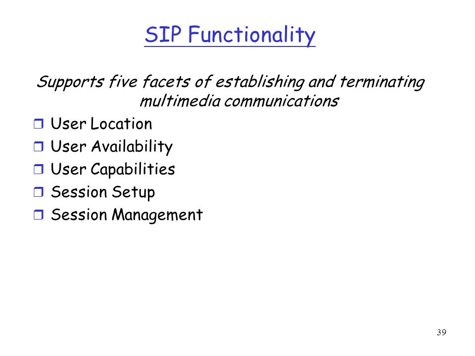 SIP Functionality Supports five facets of establishing and terminating multimedia communications. User Location.