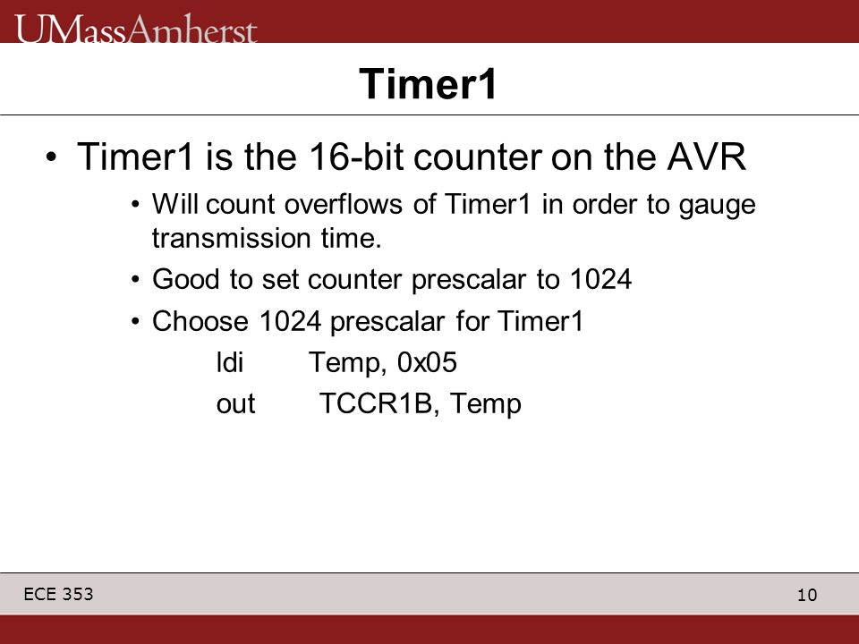Timer1 Timer1 is the 16-bit counter on the AVR