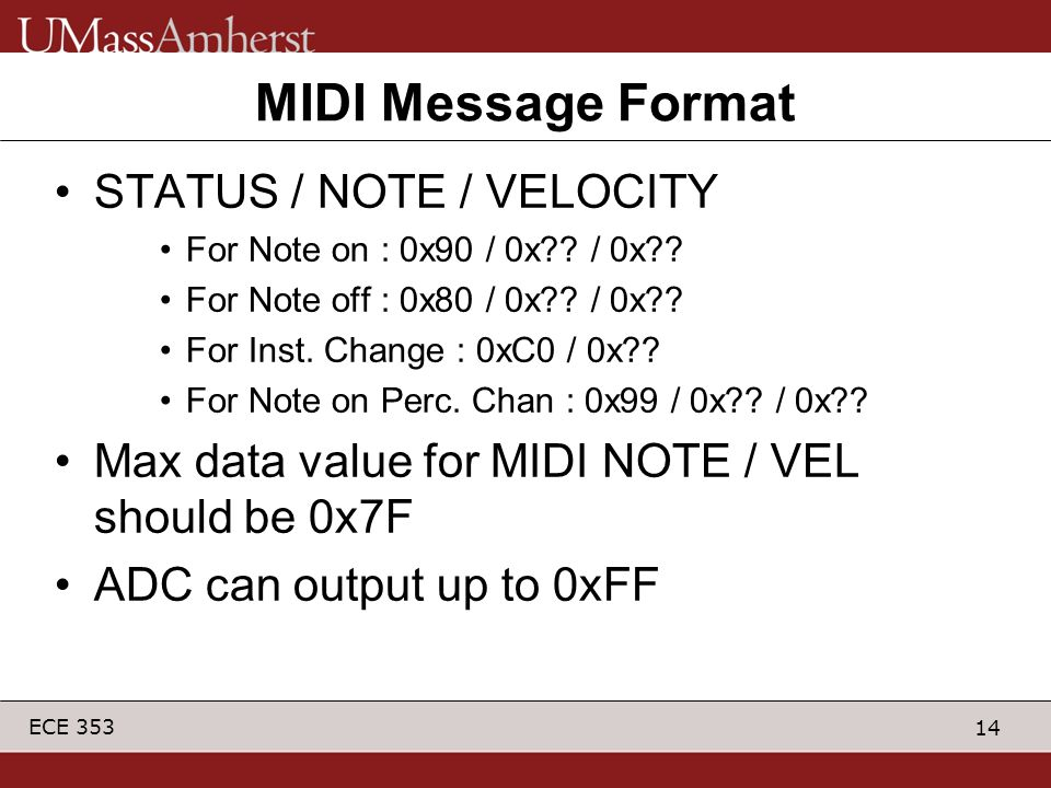 MIDI Message Format STATUS / NOTE / VELOCITY
