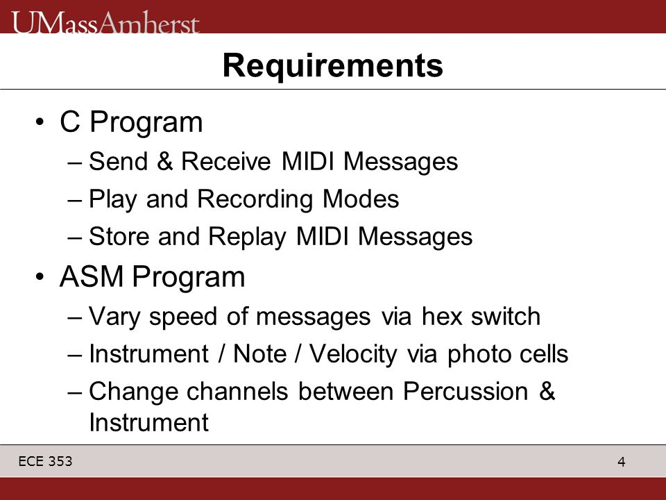 Requirements C Program ASM Program Send & Receive MIDI Messages