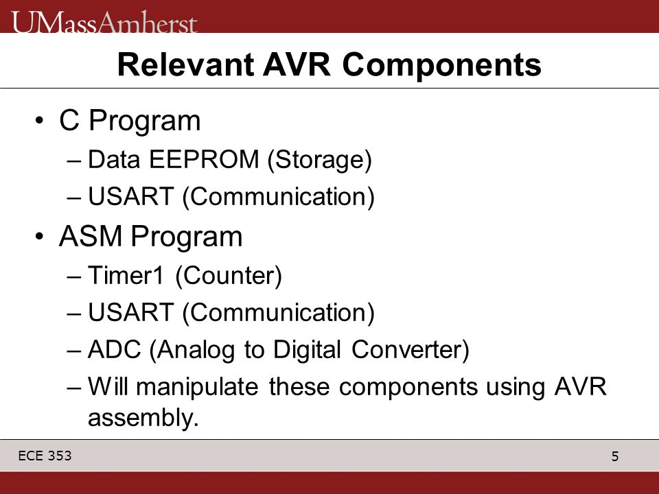 Relevant AVR Components