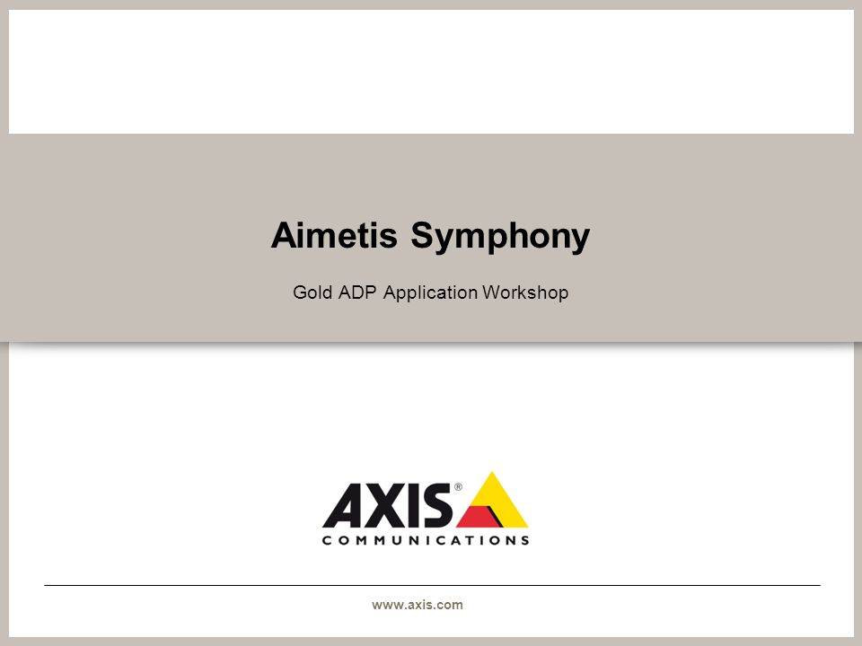 Gold ADP Application Workshop