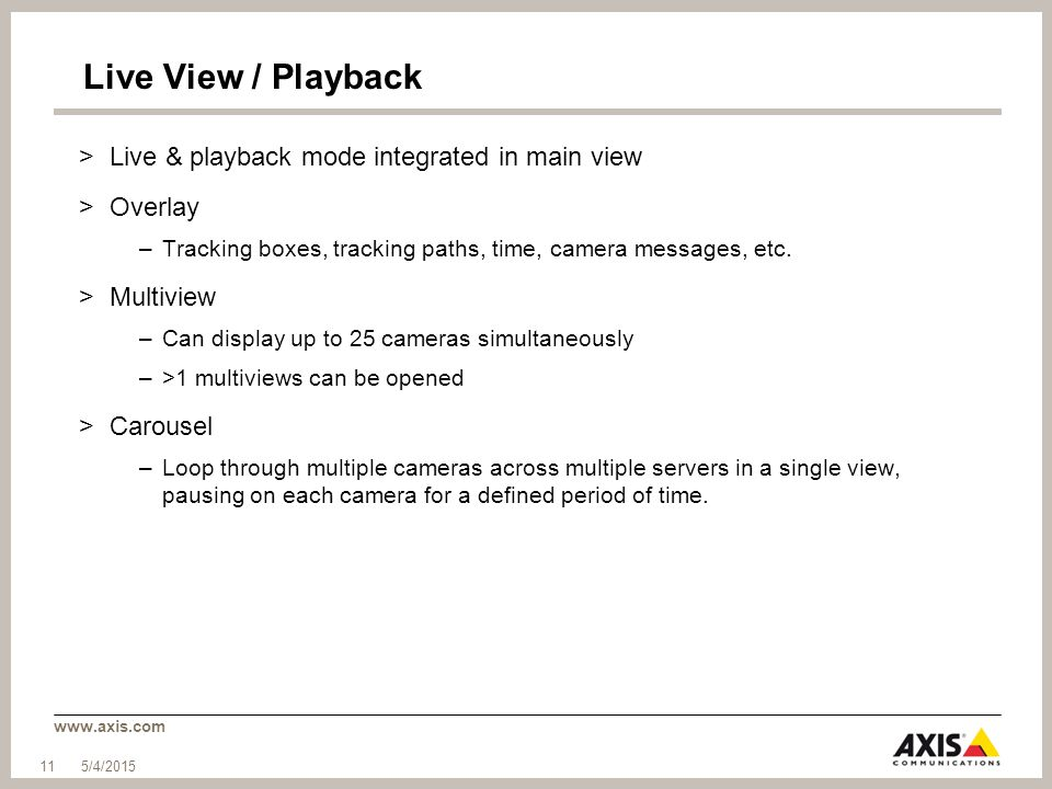 Live View / Playback Live & playback mode integrated in main view
