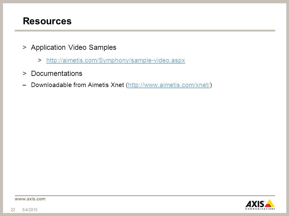 Resources Application Video Samples Documentations