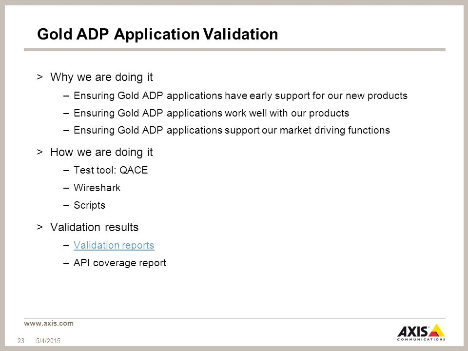 Gold ADP Application Validation