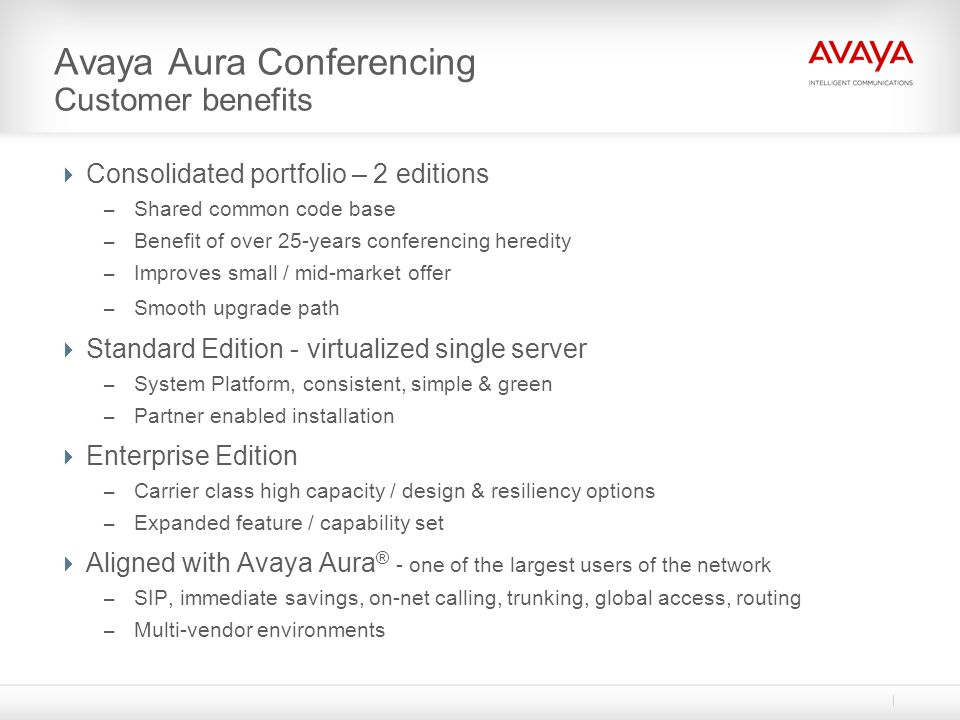 Avaya Aura Conferencing Customer benefits