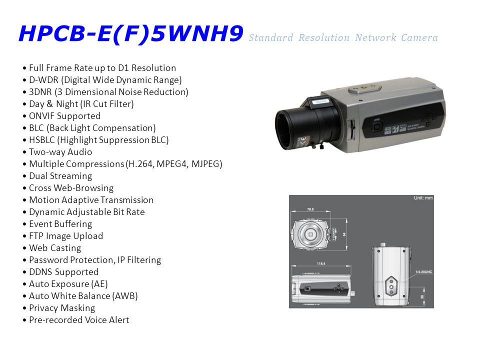 HPCB-E(F)5WNH9 Standard Resolution Network Camera