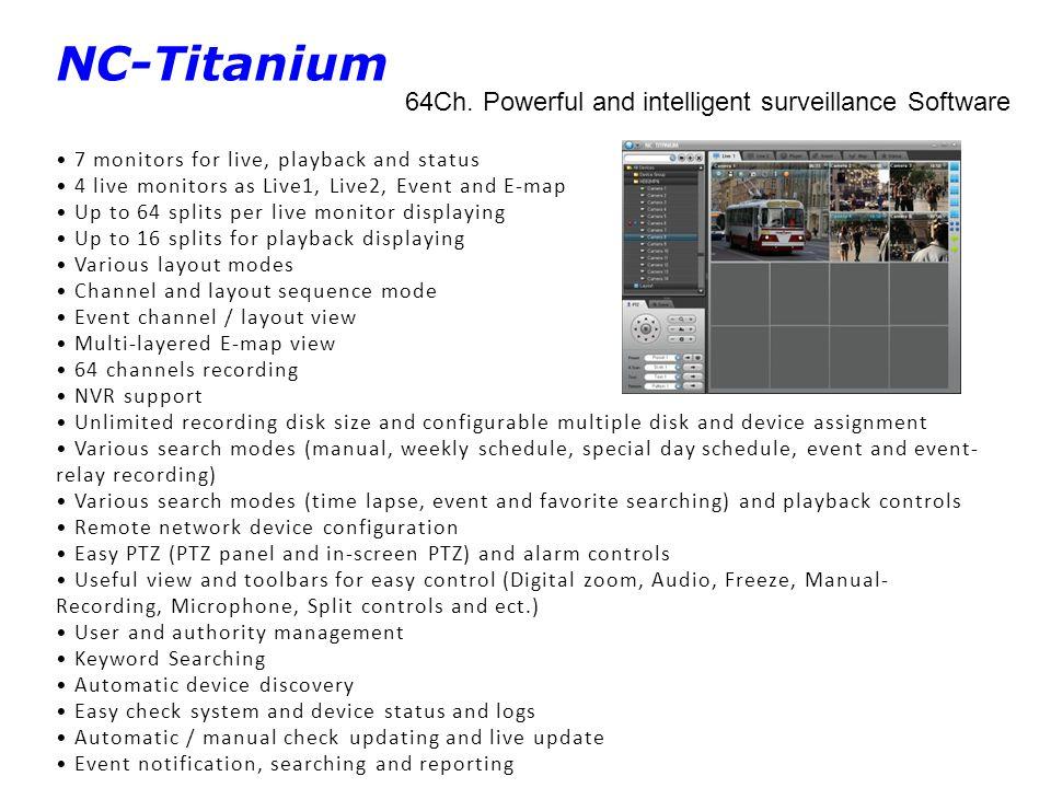 NC-Titanium 64Ch. Powerful and intelligent surveillance Software