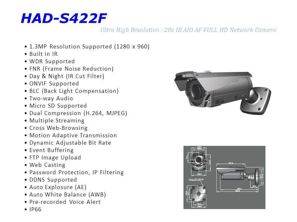 HAD-S422F Ultra High Resolution : 20x IR AIO AF FULL HD Network Camera