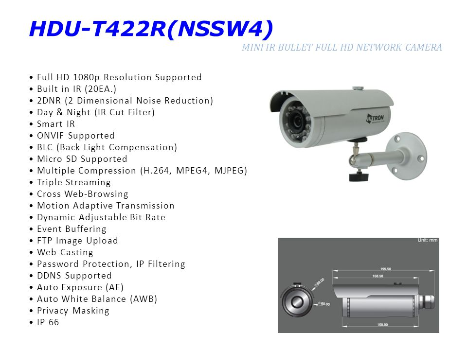 HDU-T422R(NSSW4) MINI IR BULLET FULL HD NETWORK CAMERA