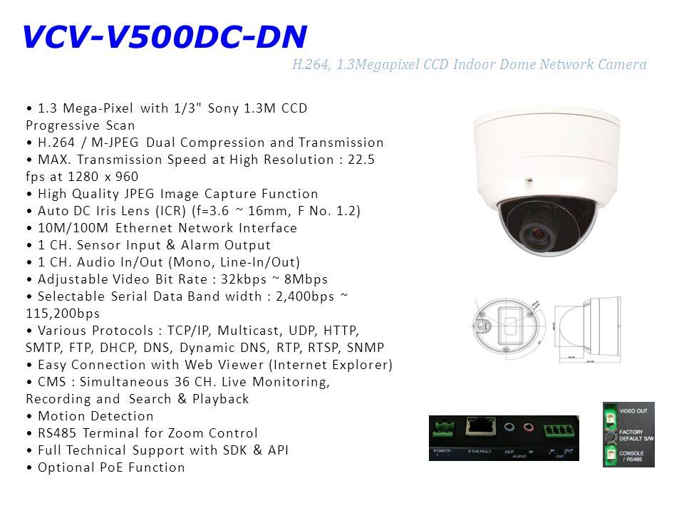 VCV-V500DC-DN H.264, 1.3Megapixel CCD Indoor Dome Network Camera