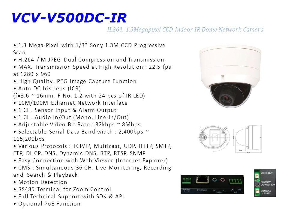 VCV-V500DC-IR H.264, 1.3Megapixel CCD Indoor IR Dome Network Camera