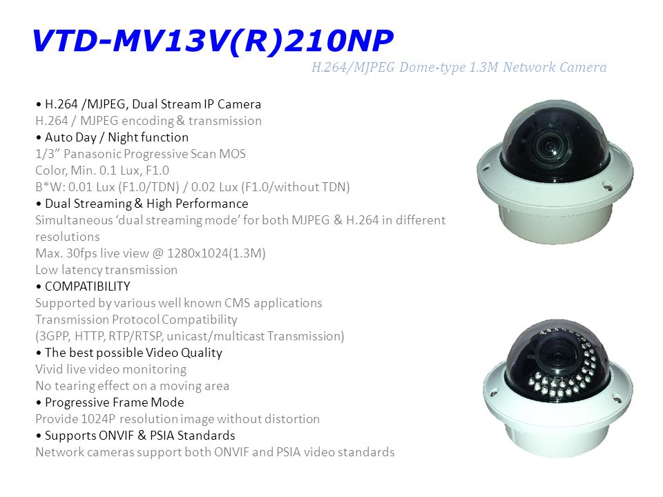 VTD-MV13V(R)210NP H.264/MJPEG Dome-type 1.3M Network Camera