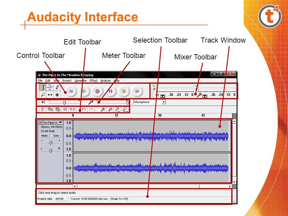 Audacity Interface Selection Toolbar Track Window Edit Toolbar