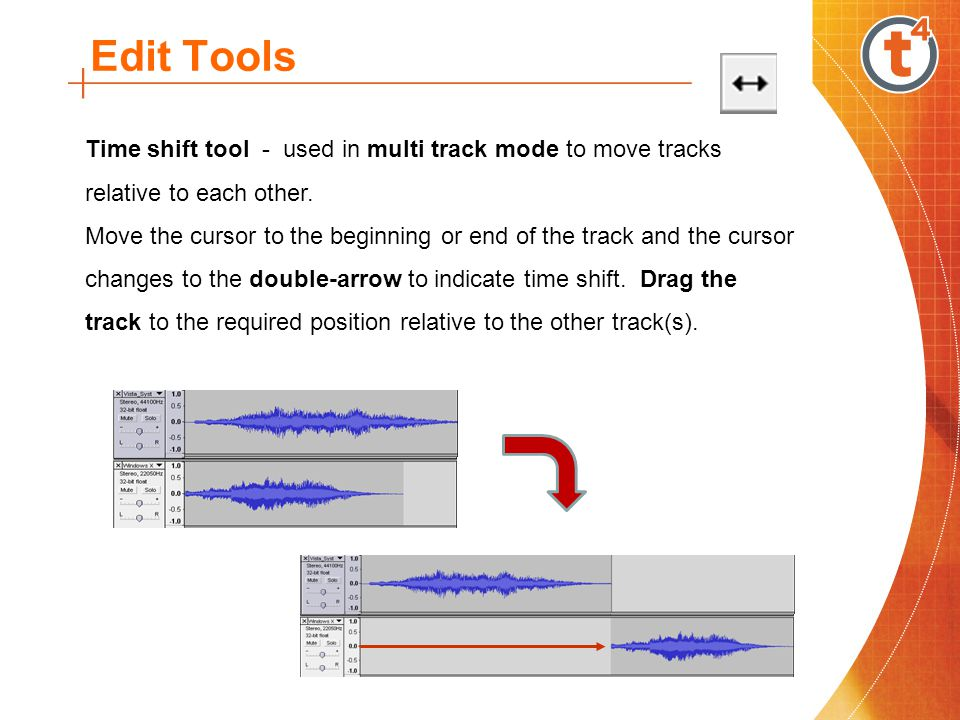 Edit Tools Time shift tool - used in multi track mode to move tracks relative to each other.