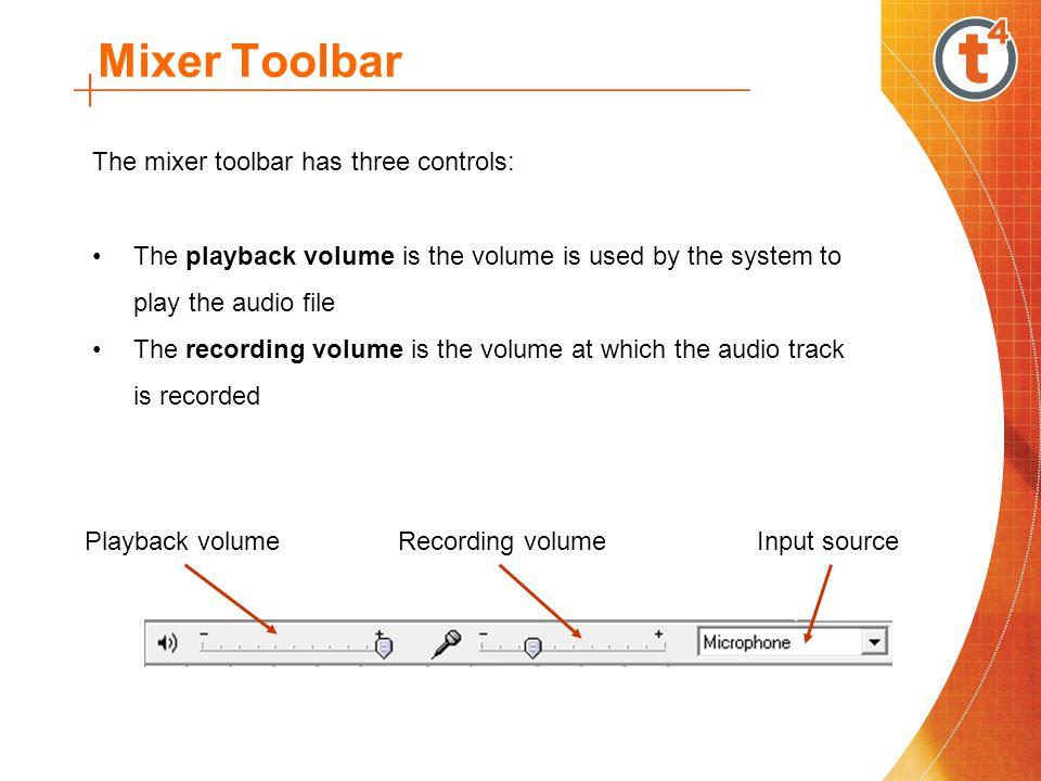 Mixer Toolbar The mixer toolbar has three controls: