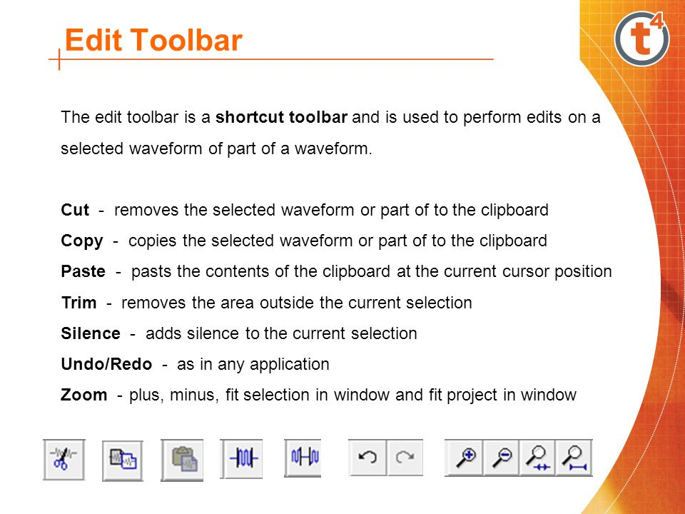 Edit Toolbar The edit toolbar is a shortcut toolbar and is used to perform edits on a selected waveform of part of a waveform.