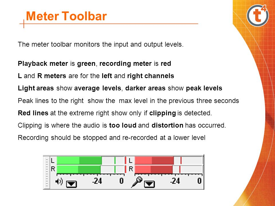 Meter Toolbar The meter toolbar monitors the input and output levels.