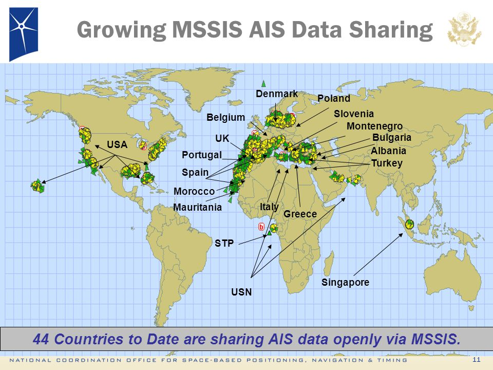 44 Countries to Date are sharing AIS data openly via MSSIS.