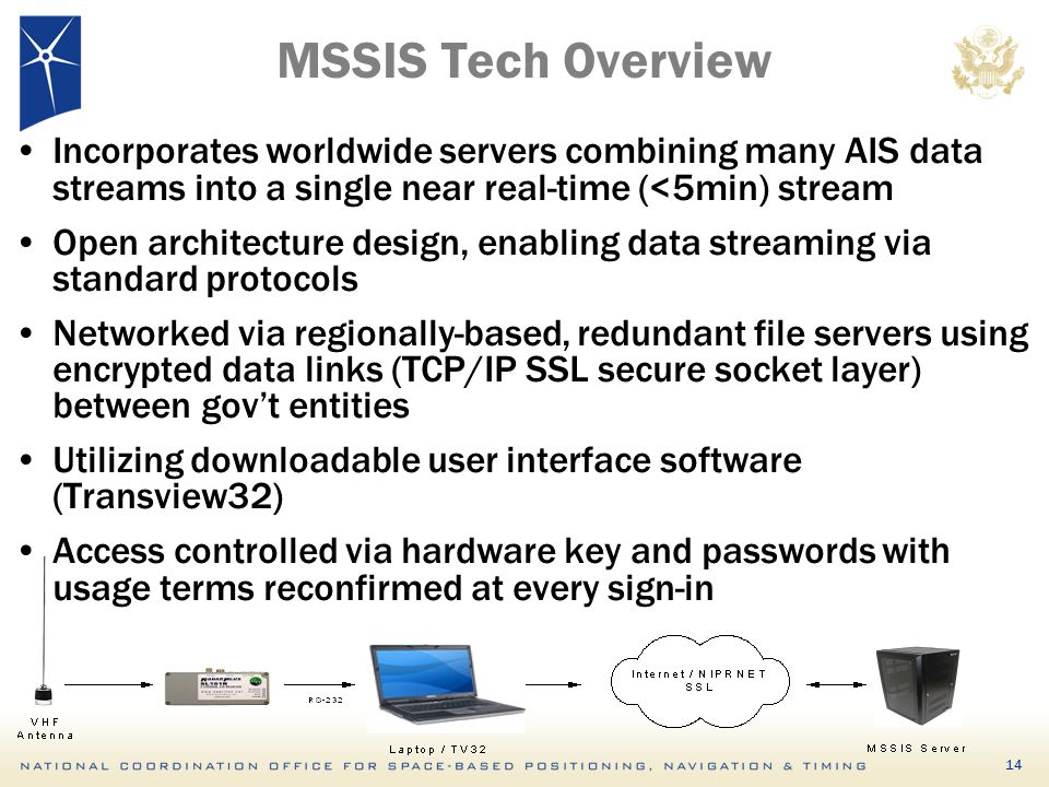 MSSIS Tech Overview Incorporates worldwide servers combining many AIS data streams into a single near real-time (<5min) stream.