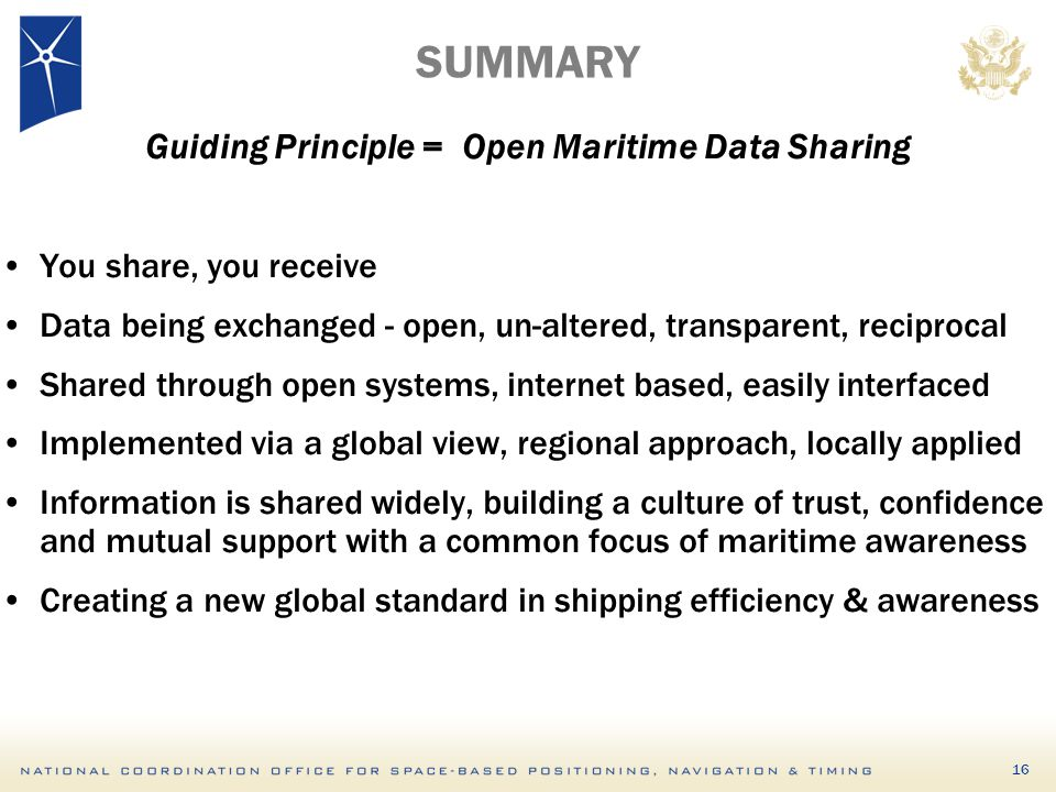 Guiding Principle = Open Maritime Data Sharing