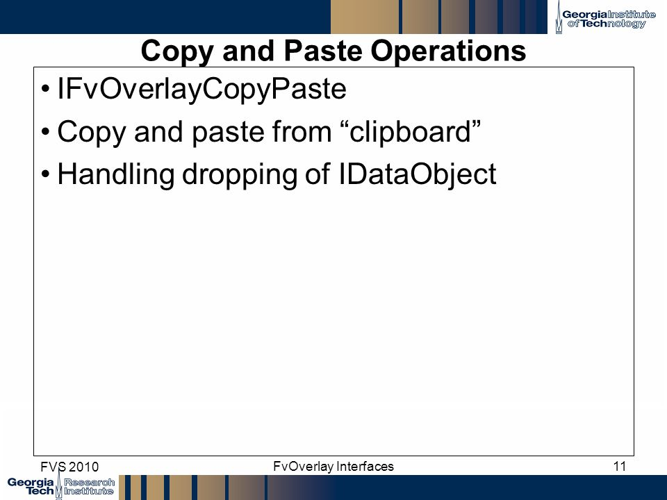 Copy and Paste Operations