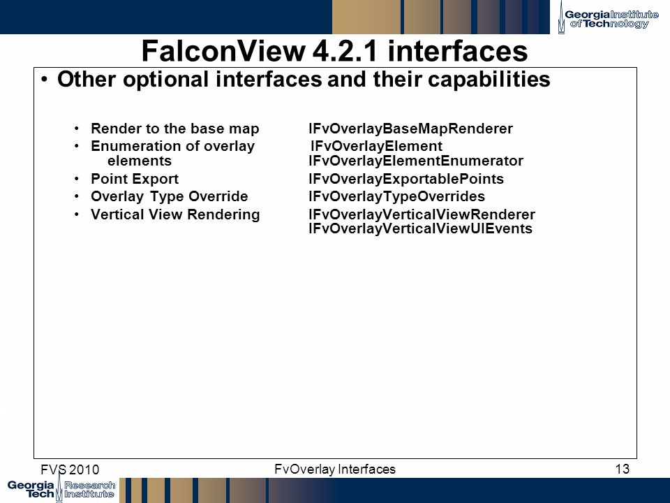 FalconView 4.2.1 interfaces