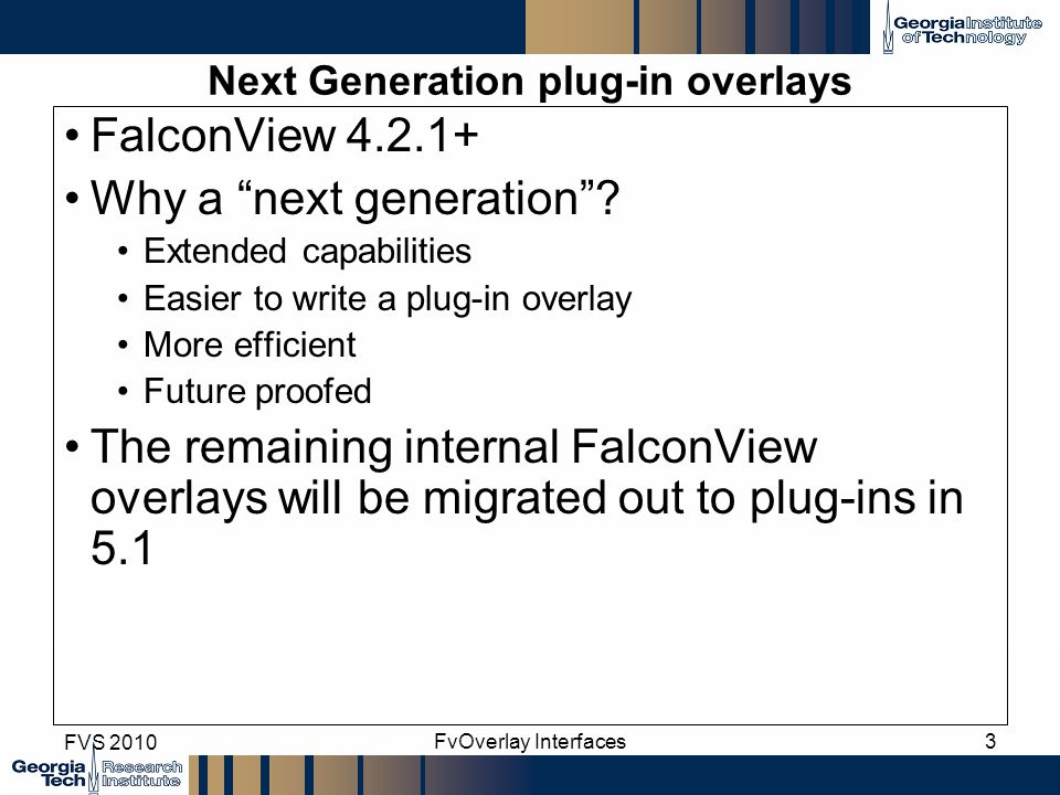 Next Generation plug-in overlays