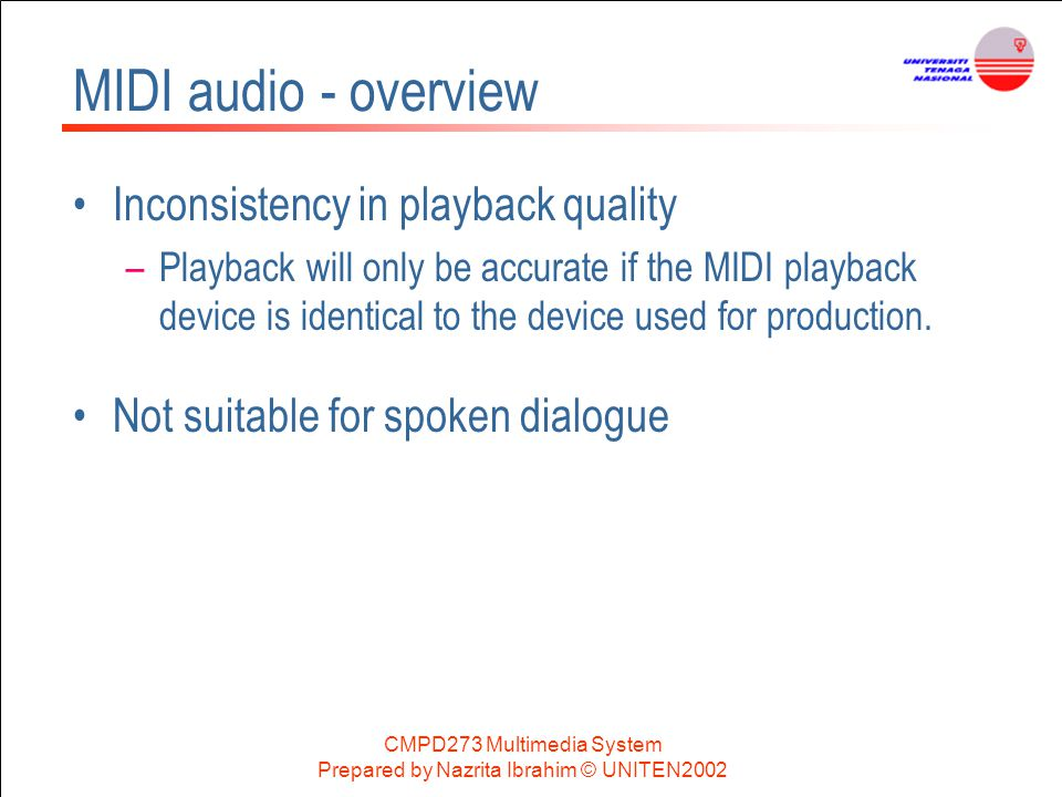 MIDI audio - overview Inconsistency in playback quality