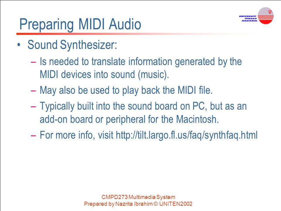 Preparing MIDI Audio Sound Synthesizer: