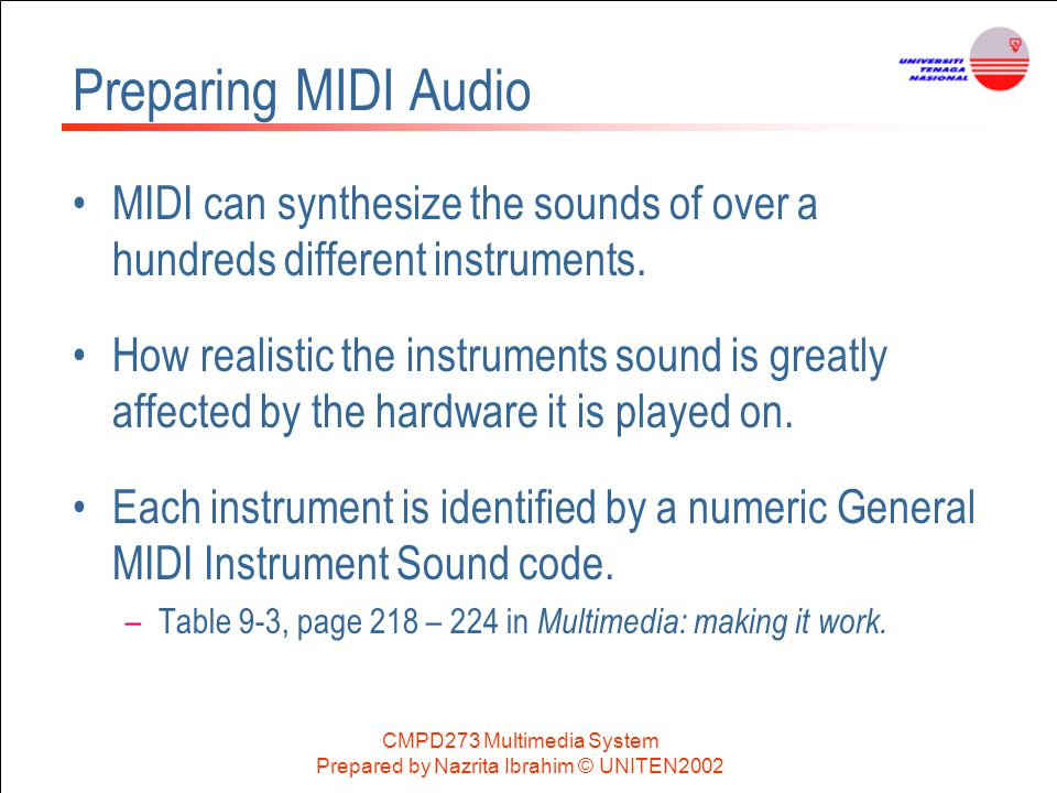 Preparing MIDI Audio MIDI can synthesize the sounds of over a hundreds different instruments.