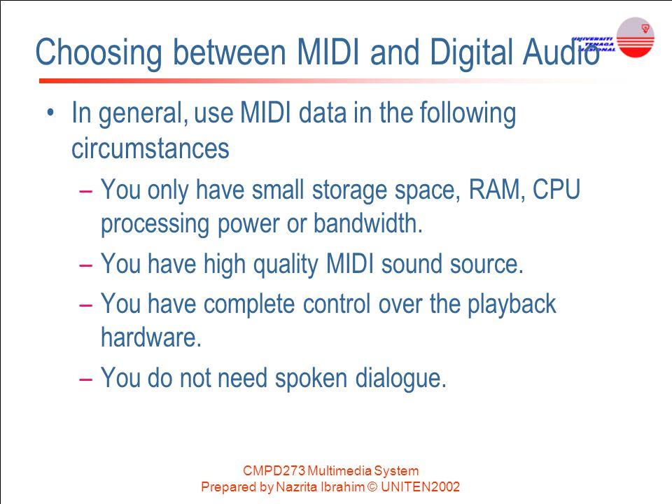 Choosing between MIDI and Digital Audio