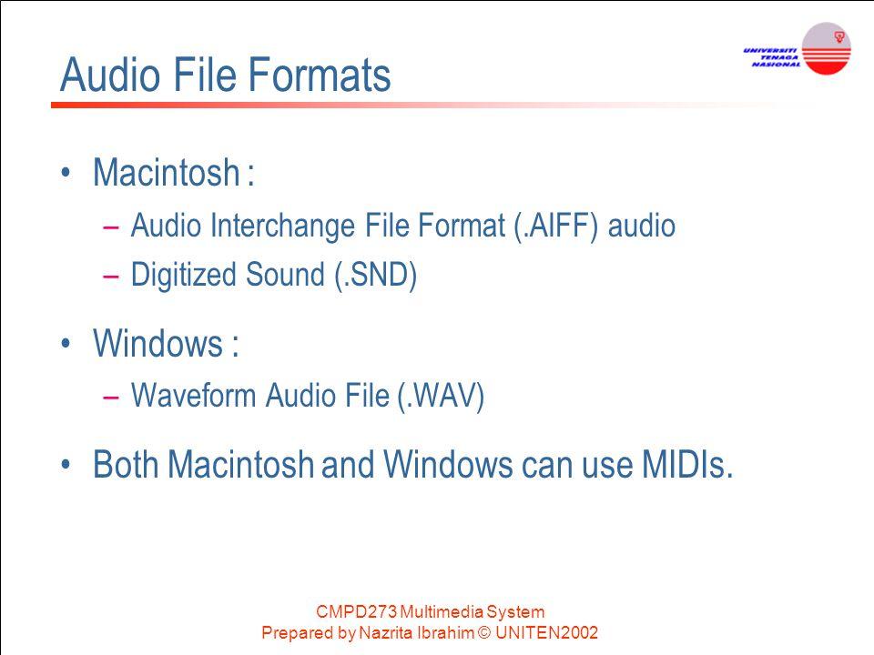 Audio File Formats Macintosh : Windows :