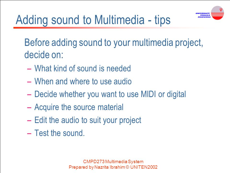 Adding sound to Multimedia - tips